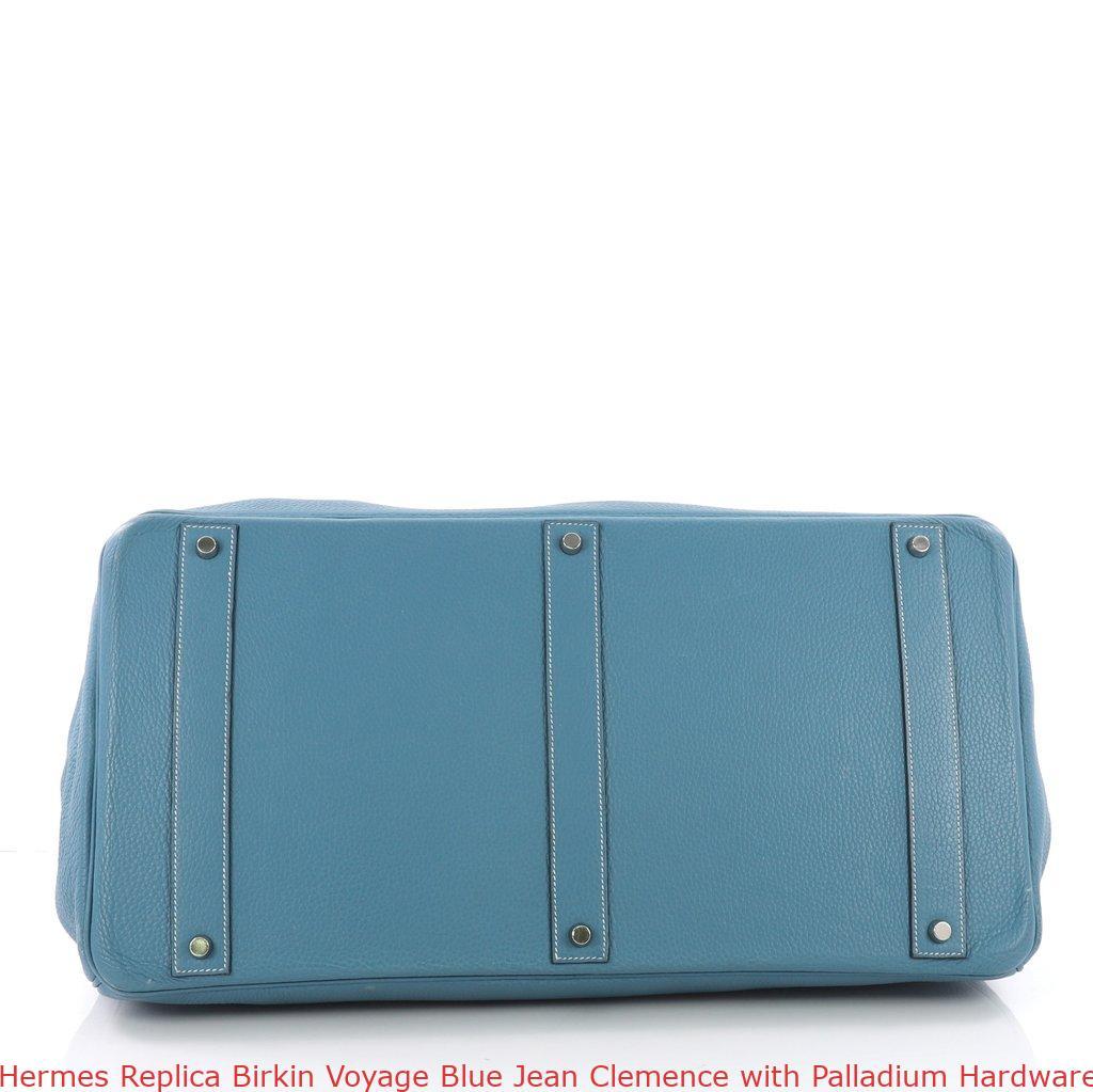 704f3896dd3 Hermes Replica Birkin Voyage Blue Jean Clemence with Palladium Hardware 50