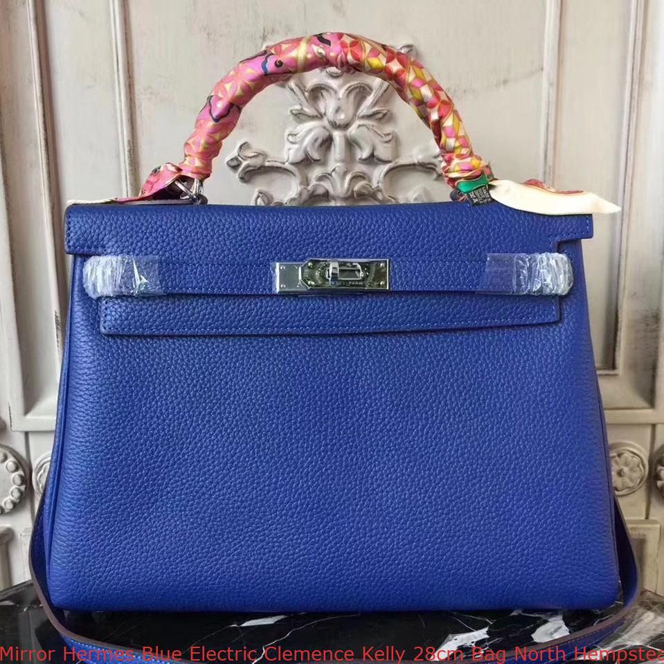 837b913c49b2 Mirror Hermes Blue Electric Clemence Kelly 28cm Bag North Hempstead ...