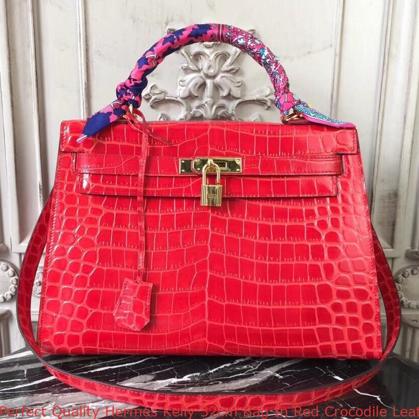 a44f0c56775a Perfect Quality Hermes Kelly 32cm Bag In Red Crocodile Leather ...